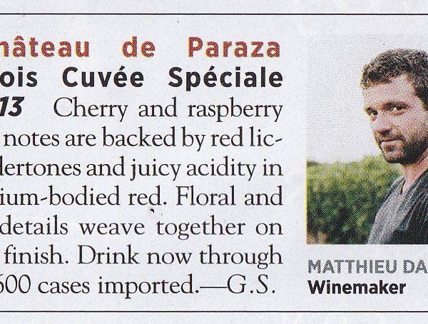 Wine Spectator Chateau de Paraza